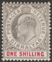 Gibraltar 1906 KEVII 1sh Black and Carmine Chalky Mint SG61a