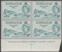 Gibraltar 1954 QEII 3d Royal Visit Imprint Block Mint SG159