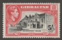 Gibraltar 1938 KGVI 5sh Black and Carmine Perf 13½ Mint SG129a