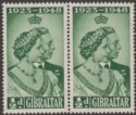 Gibraltar 1948 KGVI Royal Silver Wedding ½d Green Pair Mint SG134