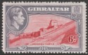 Gibraltar 1938 KGVI 6d Carmine and Grey-Violet Perf 14 Mint SG126a