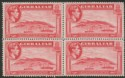 Gibraltar 1938 KGVI 1½d Carmine Perf 14 Block of Four Mint SG123