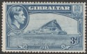 Gibraltar 1938 KGVI 3d Light Blue Perf 14 Mint SG125a