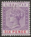 Gibraltar 1898 QV 6d Violet and Red Used SG44