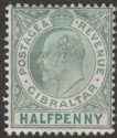 Gibraltar 1904 KEVII ½d Dull and Bright Green Ordinary Paper Mint SG56