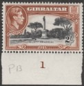Gibraltar 1942 KGVI 2sh Black and Brown Perf 13 Mint SG128b