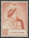 Gibraltar 1948 KGVI Royal Silver Wedding £1 Brown-Orange Mint SG135 RSW