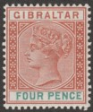 Gibraltar 1898 QV 4d Orange-Brown and Green Mint SG43
