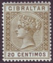 Gibraltar 1896 QV 20c Olive-Green and Brown Mint SG24