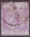 Gibraltar 1887 QV 6d Lilac Used SG13