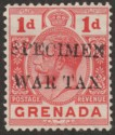 Grenada 1916 KGV WAR TAX 1d Red overprint Specimen SG109s