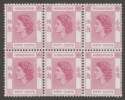 Hong Kong 1954 QEII 50c Reddish Purple Mint Block SG185