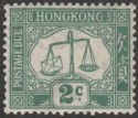 Hong Kong 1923 KGV Postage Due 2c Green wmk Upright Mint SG D2