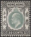 Hong Kong 1903 KEVII 30c Dull Green and Black Mint SG70