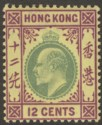 Hong Kong 1903 KEVII 12c Green and Purple on Yellow Mint SG68