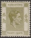 Hong Kong 1939 KGVI 30c Pale Yellow-Olive p14 Mint SG151