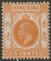 Hong Kong 1912 KGV 6c Yellow-Orange Mint SG103