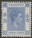 Hong Kong 1946 KGVI 30c Blue Mint SG152