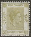 Hong Kong 1946 KGVI 25c Pale Yellow-Olive Mint SG150