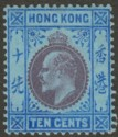 Hong Kong 1903 KEVII 10c Purple and Blue on Blue Mint SG67