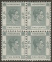 Hong Kong 1938 KGVI 2c Grey p14 Block of Four Mint SG141
