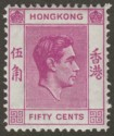 Hong Kong 1946 KGVI 50c Reddish Purple Mint SG153b