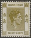 Hong Kong 1938 KGVI 30c Yellow-Olive p14 Mint SG151
