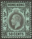 Hong Kong 1912 KGV 50c Black on Blue-Green Mint SG111