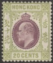 Hong Kong 1911 KEVII 20c Purple and Sage-Green Mint SG96
