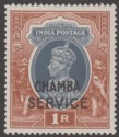 Indian States Chamba 1942 KGVI 1r Grey + Red-Brown Service Overprint Mint SG O83