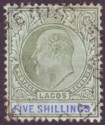 Lagos 1905 KEVII 5sh Green and Blue Ordinary Paper Used SG62