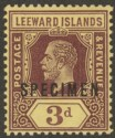 Leeward Islands 1913 KGV 3d Purple on Yellow w White Back SPECIMEN Mint SG51as