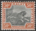 Federated Malay States 1901 Tiger 50c Black and Orange-Brown Mint SG22