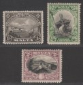 Malta 1930 KGV Postage and Revenue 1sh, 1sh6d and 2sh Mint SG203-205