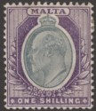 Malta 1904 KEVII 1sh Grey and Violet Mint SG61 cat £50