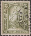 Malta 1919 KGV Figure 2sh6d Olive-Green Fiscally Used SG87 Cleaned