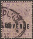 Malta 1899 QV Revenue Overprint 1sh Violet Used