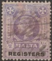 Malta 1925 KGV Revenue Registers ½d Purple and Black Used