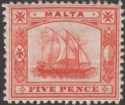 Malta 1899 QV Galley 5d Vermilion Mint SG33 cat £45