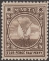 Malta 1899 Queen Victoria Fishing Boat 4½d Sepia Mint SG32 cat £26