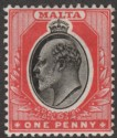 Malta 1905 KEVII 1d Black and Red Mint SG48