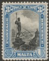 Malta 1930 KGV Postage and Revenue 3sh Black and Blue Mint SG207