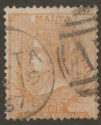 Malta 1867 QV wmk CC ½d Orange-Brown? perf 14 Used SG6 with 1867 Postmark