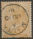 Malta 1881 QV wmk CC ½d Yellow? perf 14 Used SG13 with 1881 Postmark