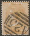 Malta 1878 QV wmk CC ½d Yellow-Buff perf 14x12½ Used SG16 cat £100