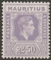 Mauritius 1948 KGVI 2r50c Slate-Violet Chalky Paper Mint SG261b