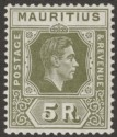 Mauritius 1938 KGVI 5r Olive-Green Chalky Paper Mint SG262