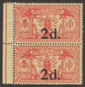 New Hebrides 1920 2d on 40c Red on Yellow No Watermark Pair Mint SG35