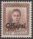 New Zealand 1938 KGVI 1½d Purple-Brown Official Mint SG O138