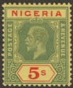 Nigeria 1932 KGV 5sh Green and Red on Pale Yellow Die I Mint SG28a